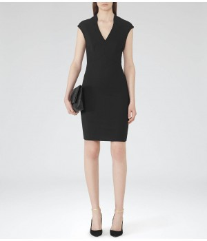 Reiss Lee V Neck Black Bodycon Dress