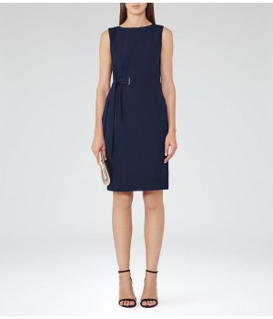 Reiss Libra Ink Waist-Tie Dress