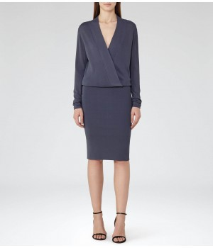 Reiss Lisbeth Shadow Knitted Wrap-Top Dress