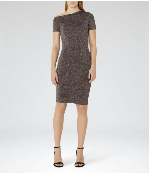Reiss Luna Metallic Knitted Bodycon Dress