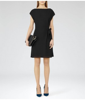Reiss Misty Black Tie-Waist Dress