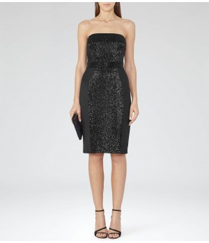 Reiss Olympia Black Strapless Embellished Dress