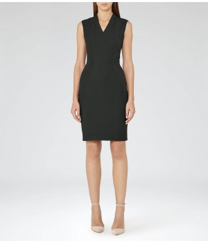 Reiss Pinetta Dress Olive Tailored Dress