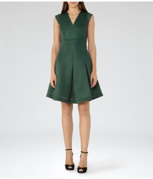 Reiss Riviera Fern Textured Scuba Fit And Flare Dress