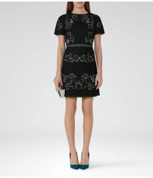 Reiss Tinley Black/nude Lace Dress