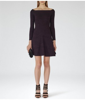 Reiss Tinsel Berry Jacquard Fit And Flare Dress