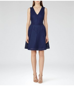 Reiss Topaz Royal Blue Textured Fit And Flare Dress