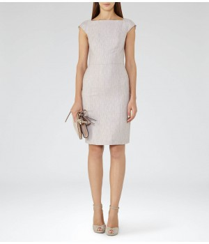 Reiss Virginia Dress Pink Grey Tailored Dress