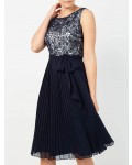 Jacques Vert Cornelli And Plisse Dress Multi Navy Dresses