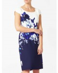 Jacques Vert Crepe Contrast Print Dress Multi Navy Dresses