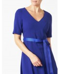 Jacques Vert Crepe Fit And Flare Dress Mid Blue Dresses
