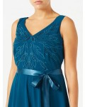 Jacques Vert Cutwork Belted Dress Dark Green Dresses