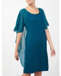 Jacques Vert Drape Cape Over Shoulder Mid Green Dresses