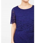 Jacques Vert Floating Bodice Lace Dress Mid Blue Dresses