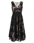 Jacques Vert Floral Applique Prom Dress Multi Black Dresses 10043949 | jacquesvertdressuk.com