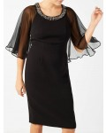 Jacques Vert Jewelled Neck Dress Black Dresses