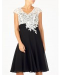 Jacques Vert Lace Bodice Chiffon Dress Multi Black Dresses