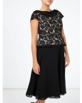 Jacques Vert Lace Chiffon Cowl Flare Dress Multi Black Dresses