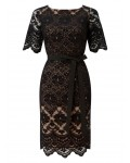 Jacques Vert Lace Contrast Shift Dress Multi Black Dresses 10043200 | jacquesvertdressuk.com