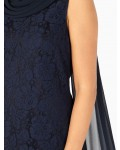 Jacques Vert Lace Drape Cape Navy Dresses