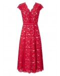 Jacques Vert Lace Godet Dress Multi Red Dresses 10044800 | jacquesvertdressuk.com
