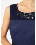 Jacques Vert Petite Embellished Yoke Dress Navy Dresses