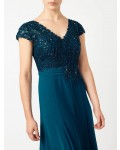 Jacques Vert Petite Lace Bodice Dress Dark Blue Dresses