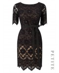 Jacques Vert Petite Layer Lace Dress Multi Black Dresses 10043646 | jacquesvertdressuk.com