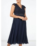 Jacques Vert Pleated Embellished Midi Dress Navy Dresses
