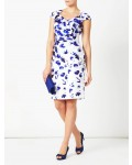 Jacques Vert Shantung Border Print Dress Mid Blue Dresses, Jacques Vert Item No.10045062