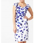 Jacques Vert Shantung Border Print Dress Mid Blue Dresses