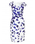 Jacques Vert Shantung Border Print Dress Mid Blue Dresses 10045062 | jacquesvertdressuk.com