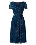 Jacques Vert Soft Prom Spot Dress Multi Navy Dresses 10043086 | jacquesvertdressuk.com