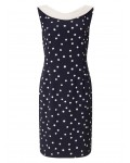 Jacques Vert Spot Crepe Dress Multi Navy Dresses 10044372 | jacquesvertdressuk.com