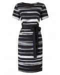 Jacques Vert Textured Stripe Tie Wrap Dress Multi Black Dresses 10044697 | jacquesvertdressuk.com