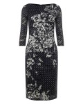 Phase Eight Agatha Lace Print Dress Navy/Ivory Dresses