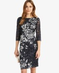 Phase Eight Navy/Ivory Dresses Agatha Lace Print Dress | jacquesvertdressuk.com
