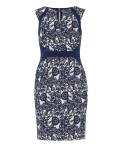 Phase Eight Annie Jacquard Dress Navy/Ivory Dresses