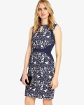 Phase Eight Navy/Ivory Dresses Annie Jacquard Dress | jacquesvertdressuk.com