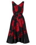 Phase Eight Aviana Floral Dress Black/Ruby Dresses