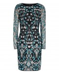Reiss Alianna Emerald Sea/black Embroidered Dress 29819754,Reiss EMBROIDERED DRESSES