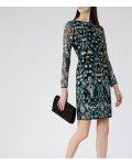 Reiss Alianna Emerald Sea/black Embroidered Dress