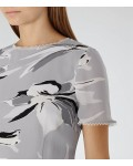 Reiss Bronte Grey/black Printed Dress