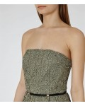 Reiss Demetra Bright Sage Strapless Lace Dress