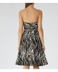 Reiss Elinor Black/white Strapless Boned Dress
