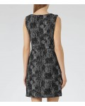 Reiss Enni Black/off White Jacquard Fit And Flare Dress