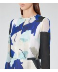 Reiss Neave Bright Sapphire/peppermint Watercolour-Print Dress