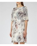Reiss Oriana Multi Grey Printed Dress